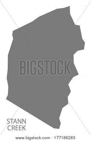 Stann Creek Belize District Map Grey Illustration Silhouette