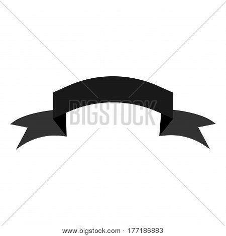 Ribbon gray sign. Decoration banner symbol. Monochrome icon isolated on white background. Flag flat mark. Decoration concept. Modern art scoreboard. Stock vector illustration