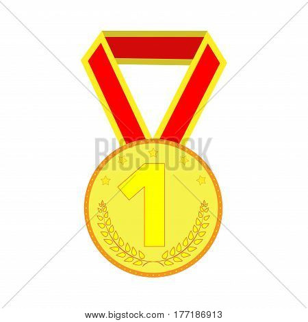 Gold medal sign. Symbol of achievement. Golden round medallion with red ribbon isolated on white background. Achievement flat mark. Concept of award. Modern art scoreboard. Stock vector illustration