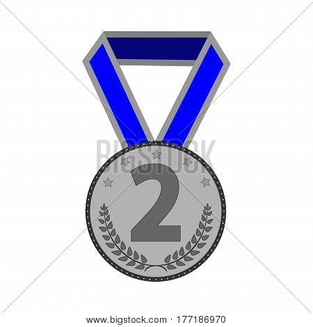 Silver medal sign. Symbol of achievement. Monochrome round medallion with blue ribbon isolated on white background. Achievement flat mark. Concept of award. Stock vector illustration