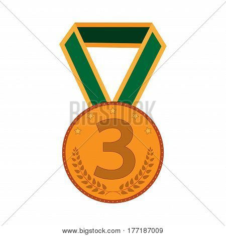 Bronze medal sign. Symbol of achievement. Color round medallion with green ribbon isolated on white background. Achievement flat mark. Concept of award. Stock vector illustration