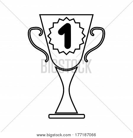 Cup winner sign. Symbol of prize. Monochrome trophy isolated on white background. Achievement win mark. Concept of award. Modern art scoreboard. Stock vector illustration