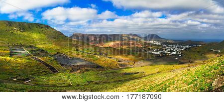 Lanzarote - impressive beauty of volcanic island. Panoramic view of Haria village