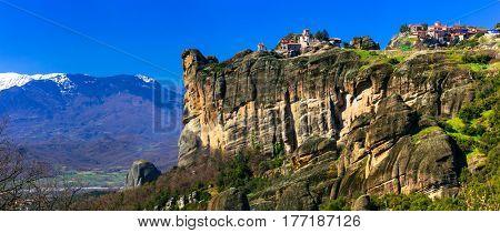 Impressive hanging on the rocks monasteries of Meteora. Central Greece