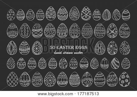 Big vector Easter egg set. 50 Easter hand-drawn decorative ornate egg elements for your design. Outline egg signs.