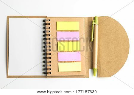 Notebook And Postit And Pen.