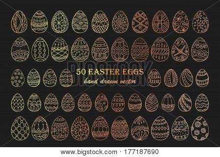 Big vector Easter egg set. 50 Easter hand-drawn decorative ornate egg elements for your design. Outline golden egg signs.