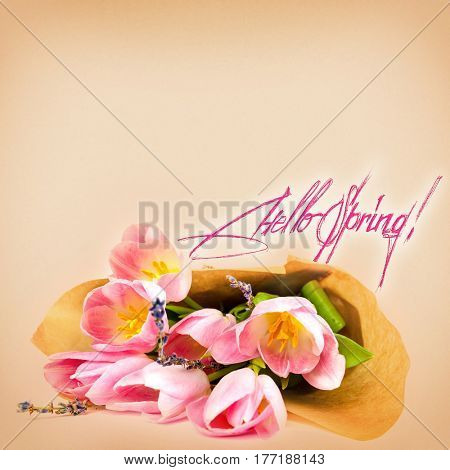 bouquet of tulips on a white background for advertising