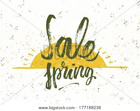 Spring discounts. Solar frame with text. Romantic greeting card. Spring time formulation with a hand drawn on white background. Vector illustration