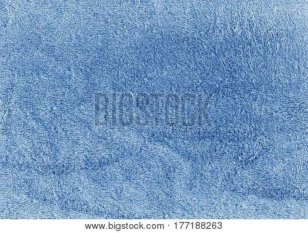 Blue Color Bath Cotton Towel Texture.