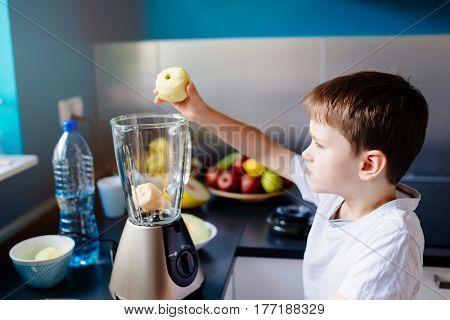 Little Child Boy Putting Apple To Blender