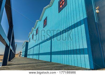 Blue cabins of the Saint-Gilles Croix de Vie large beach (Vendee, France)