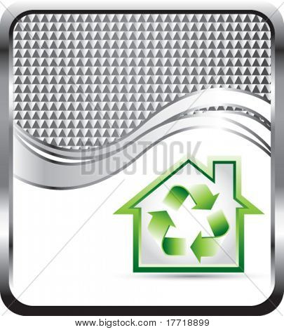 house recyle symbol silver checkered wave