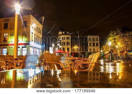 Night outdoor terrace in Antwerpen city from Belgium