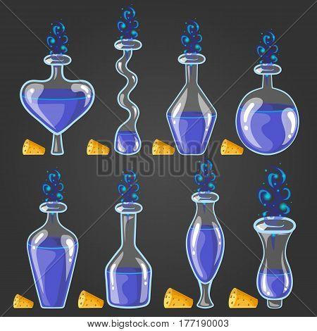 Set bottles of potion with magic smoke. Game design illustration