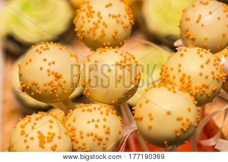 Top View Photo Of Colorful Cake Pops On Table