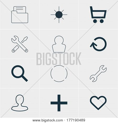Vector Illustration Of 12 User Icons. Editable Pack Of Dossier, Full Brightness, Maintenance And Other Elements.
