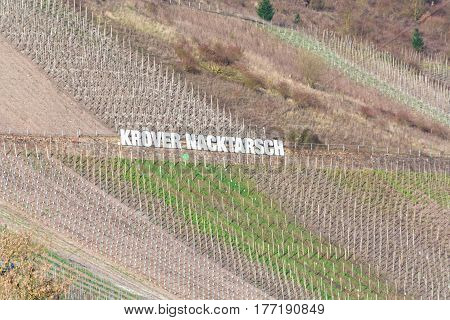 TRABEN-TRARBACH GERMANY - MÄRZ 26 2016: Billboard in the vineyards with inscription Kröver Nacktarsch. German wine-growing region on the Moselle near Traben-Trarbach Rhineland-Palatinate Germany Europe.