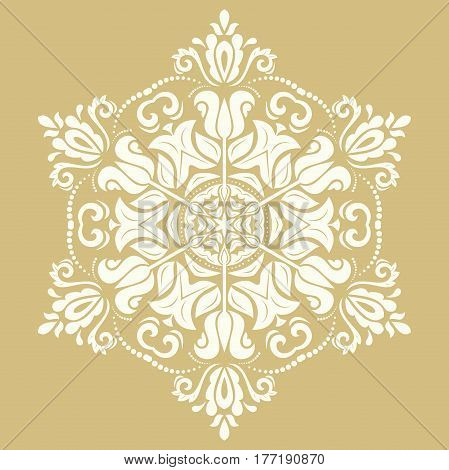 Elegant white ornament in the style of baroque. Abstract traditional pattern with oriental elements