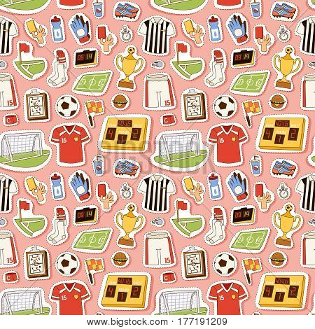 Soccer icons stadium and cloth vector illustration. Football sport soccer icons championship referee tournament. Corner competition team game with ball strategy seamless pattern