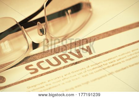 Scurvy - Medical Concept on Red Background with Blurred Text and Composition of Glasses. Scurvy - Medical Concept with Blurred Text and Glasses on Red Background. Selective Focus. 3D Rendering.