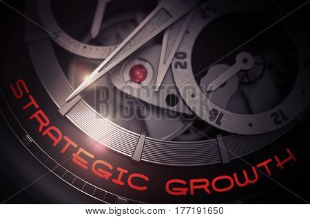 Strategic Growth on the Mechanical Pocket Watch, Chronograph Up Close. Business Concept with Lens Flare. 3D Rendering.