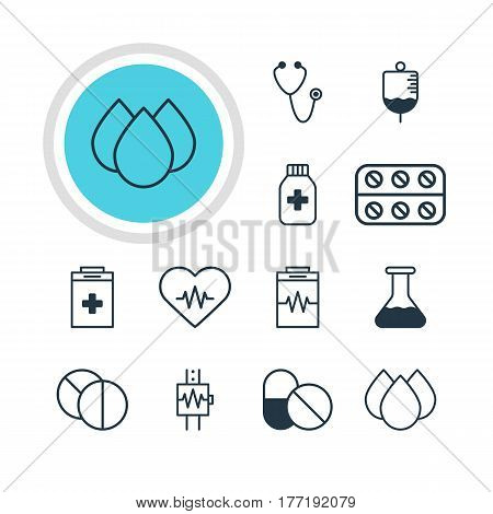 Vector Illustration Of 12 Medical Icons. Editable Pack Of Flask, Heart Rhythm, Heartbeat And Other Elements.