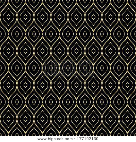 Seamless ornament. Modern geometric pattern with repeating golden dotted wavy lined