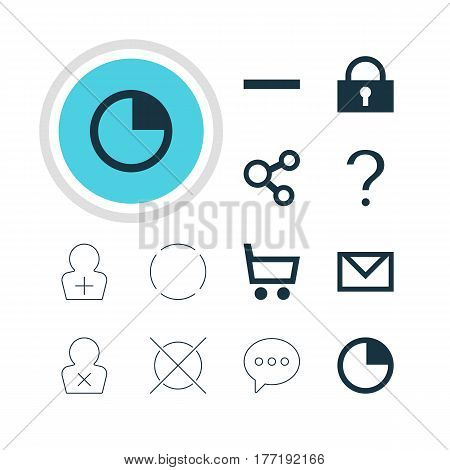 Vector Illustration Of 12 Interface Icons. Editable Pack Of Stopwatch, Register Account, Cancel And Other Elements.