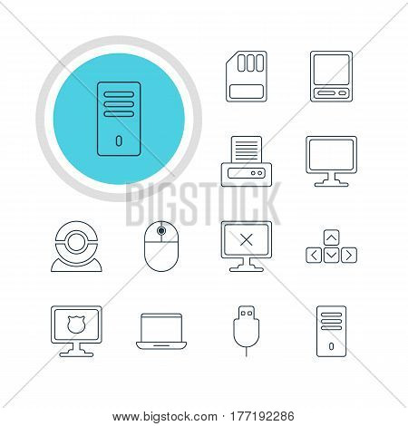 Vector Illustration Of 12 Laptop Icons. Editable Pack Of Mainframe, Notebook, Web Camera And Other Elements.