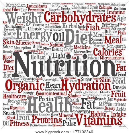 Concept or conceptual nutrition health or diet square word cloud isolated on background