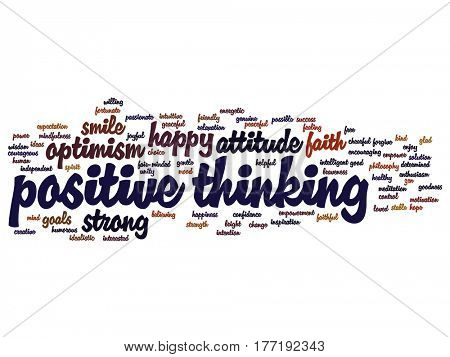 Concept or conceptual positive thinking, happy or strong attitude abstract word cloud isolated on background