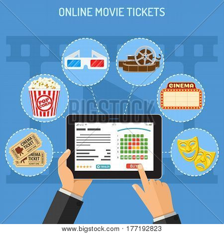 Concepts online cinema ticket order. Man holding tablet pc in hand and touching buy app. flat style icons popcorn, 3D glasses, signboard. isolated vector illustration