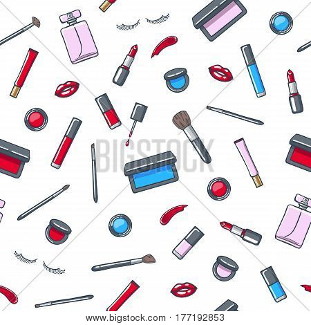 Make-up cosmetics products seamless pattern. Lip gloss, lipstick, false eyelashes, eyeshadow, blush, nail polish and brushes. Hand drawn beauty vector background. Good for ads design.