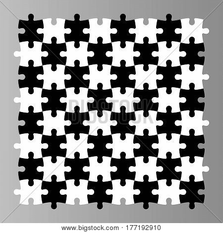 Jigsaw puzzle seamless background. Mosaic of black and white pieces looks like chess desk. Simple flat vector illustration.