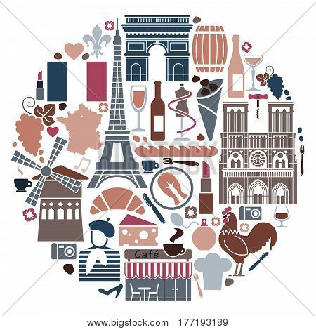 Traditional symbols of the French architecture, cuisine and culture in the form of a circle