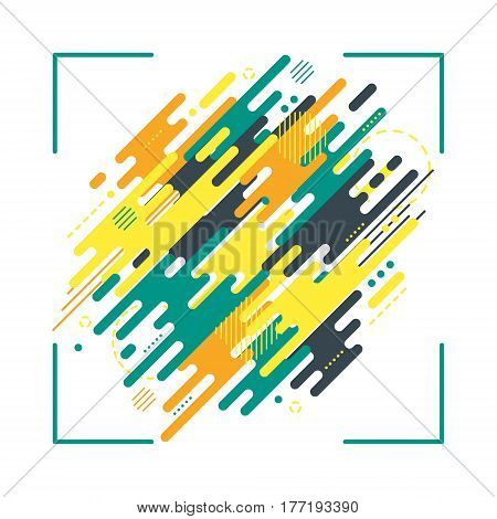 Abstract flat dynamic background isolated on white. Geometric motion shapes. Colorful pattern for cover design poster card greeting business decoration Vector illustration template
