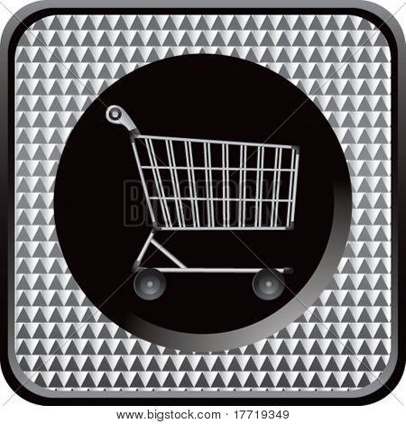 shopping cart silver checkered web button