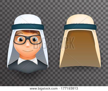 Arab keffiyeh mask boys head 3d design template vector illustration