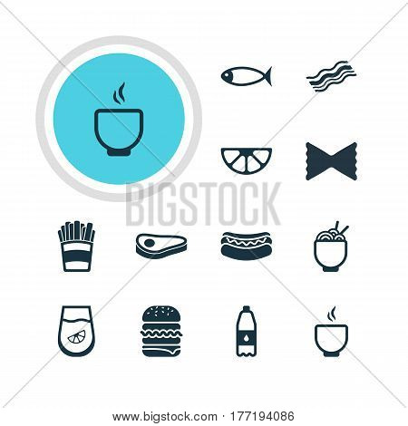 Vector Illustration Of 12 Eating Icons. Editable Pack Of Streetfood, Ham, Beefsteak And Other Elements.
