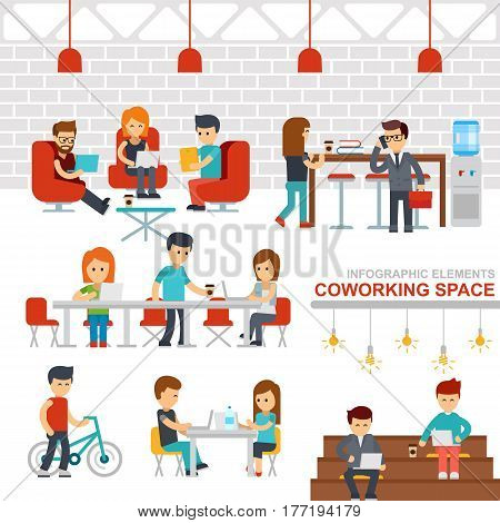 Coworking space infographic elements vector flat design illustration. Creative people working together in workspace. Man and woman working at the computers. Business shared working environment flat