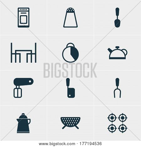 Vector Illustration Of 12 Kitchenware Icons. Editable Pack Of Teakettle, Oven, Tea And Other Elements.