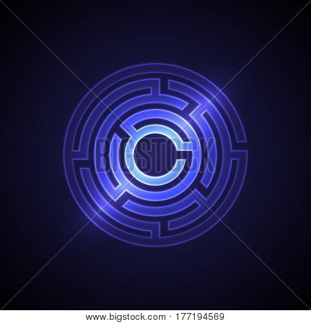 Abstract maze background with glowing light. Labyrinths in shape of circle. Modern design of mystery pattern for business decoration. Vector illustration on gradient background.