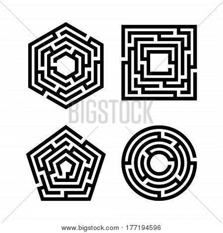Abstract maze set. Collection of labyrinths in shapes of circle square pentahedron and hexahedron. Modern design of mystery patterns for business decoration. Vector illustration on white background