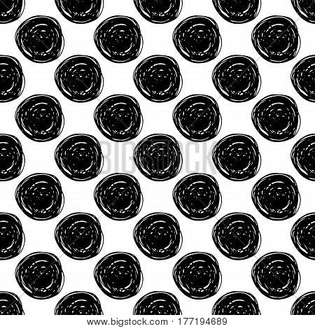 Abstract spot pattern with trendy hand drawn spots. Cute vector black and white spot pattern. Seamless monochrome spot pattern for fabric, wallpapers, wrapping paper, cards and web backgrounds.