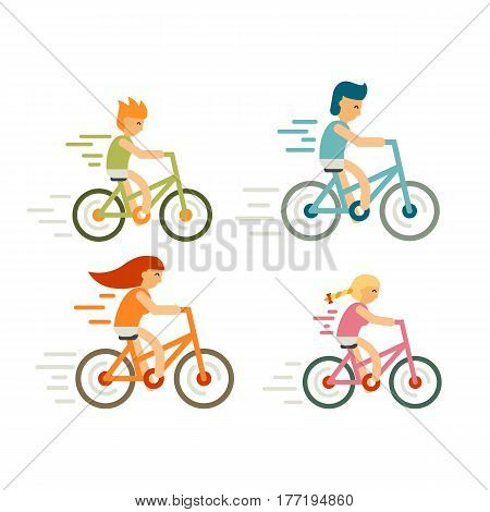 Set of bicycle rider in flat style. Modern family, leisure, holidays and activities, cycle race, distillation, moving. Cyclist man, woman, children, racing cyclist on bike - stock vector