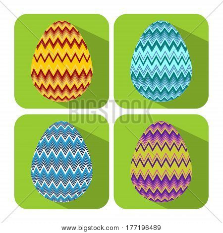 Set if icons with chevron decorated egg flat design with long shadows object on vivid green background easter badge vector EPS 10