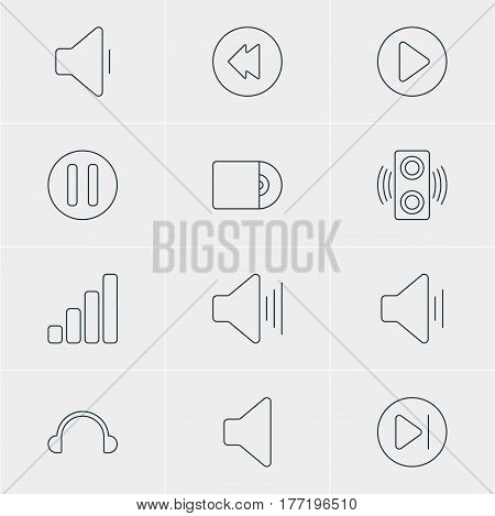 Vector Illustration Of 12 Music Icons. Editable Pack Of Decrease Sound, Start, Compact Disk And Other Elements.