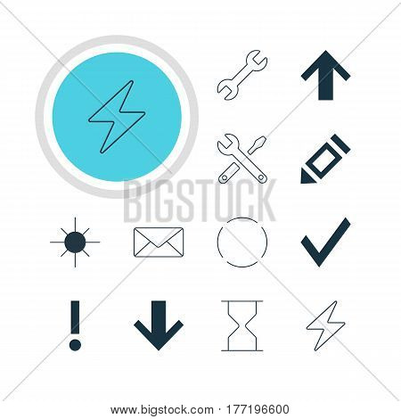 Vector Illustration Of 12 Member Icons. Editable Pack Of Envelope, Maintenance, Top And Other Elements.