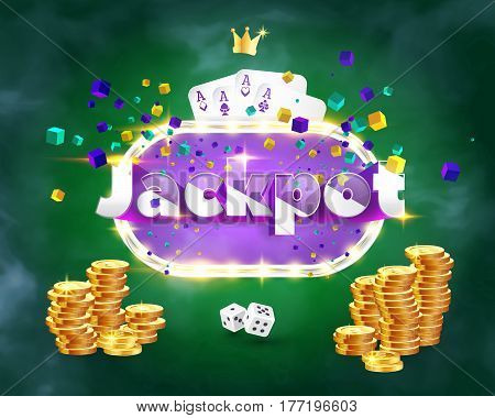 The word Jackpot surrounded by a luminous frame and attributes of gambling on a green background. The new best design of the luck banner for gambling casino poker slot roulette or bone.